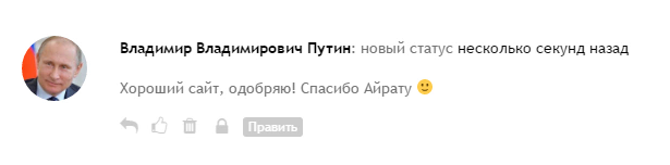 Комментарий Владимира Владимировича Путина